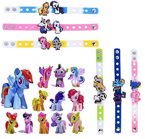 My Little Pony Set 12 pcs Toys | PVC Mini Figure Collection Playset for Kids Decor Cupcake Topper + 6pc Bracelets ()