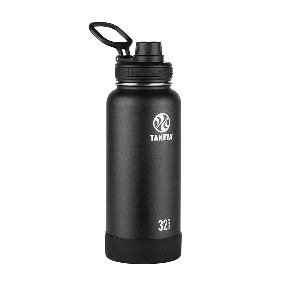 Takeya Actives Insulated Stainless Water Bottle with Insulated Spout Lid, 32oz, Onyx