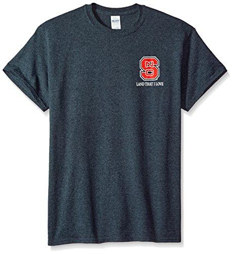 New World Graphics NCAA North Carolina State Wolfpack Flag Glory Short Sleeve Shirt, Large, Dark Heather