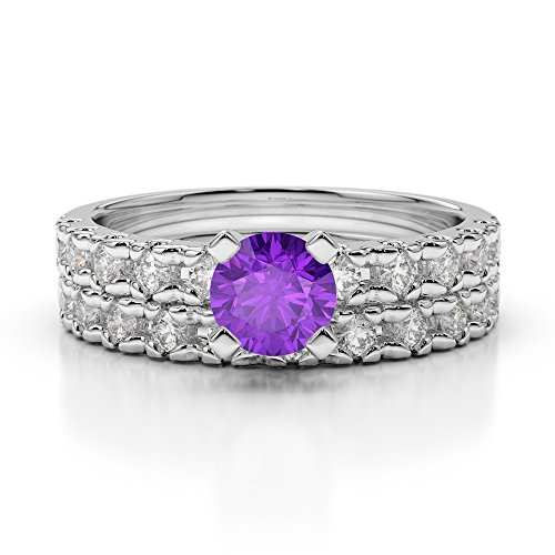 Or blanc 18carats 0.25CT G-H/VS sertie de diamants ronds Cut Améthyste et mariée Bague de fiançailles et ensemble de Agdr-1144