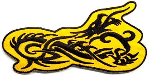 【ノーブランド品】 アイロンワッペン ワッペン 変形型ワッペン 刺繍ワッペン 龍 ドラゴン アイロンで貼れるワッペン