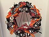 COLLEGE PRIDE - SPIRIT - OSU - OREGON STATE UNIVERSITY - BEAVERS - BENNY THE BEAVER - DORM DECOR - DORM ROOM - COLLECTOR WREATH - ORANGE MUMS & BLACK ROSES