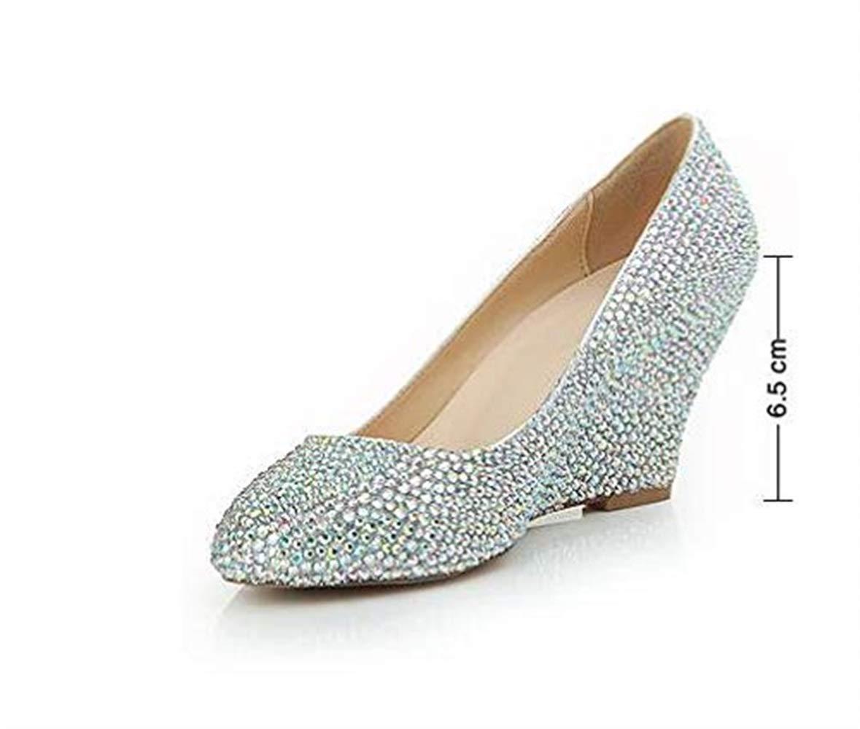 Eeayyygch Frauen Wedge Heel Sandals Runde Kopf Mode Diamant Diamant Diamant Hochzeit Schuhe Sexy Party Nachtclub High Heels 6,5 cm (Farbe   Farbe Größe   4.5UK(Foot Length 24cm)) 7fa1d6