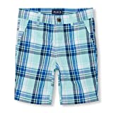 The Children's Place Big Boys' Flat Front Plaid Shorts, Mellow Aqua, 4