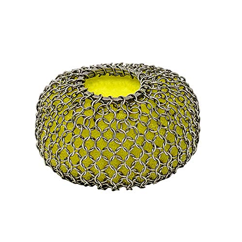 Iron Cleaner with Sponges - Durable Round Patented Chainmail Scrubber for Skillet, Pots and Pans Kitchen Utensils   Smart Cleaning Tool for Removing Burnt Food in your Cookware ()