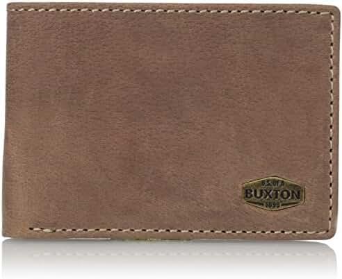 Buxton Men's Expedition RFID Blocking Leather Front Pocket Slimfold