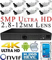 USG H.265 5MP @ 30FPS Sony DSP Ultra 4K 8 Camera Security System PoE IP CCTV Kit: 8x H.265 4MP IP PoE 2.8-12mm Lens Bullet Camera + 1x H.265 5MP 24 Channel NVR + 1x 4TB HDD * View On Apple & Android