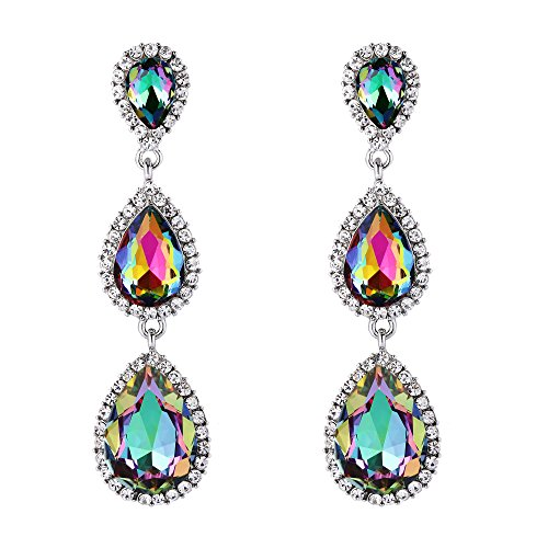 EleQueen Women's Silver-tone Austrian Crystal Tear Drop Pear Shape Long Earrings Multicolor