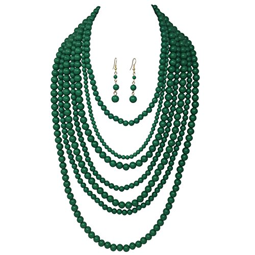 Gypsy Jewels 7 Row Long Layered Imitation Pearl Bead Statement Necklace Earrings Set (Green) ()