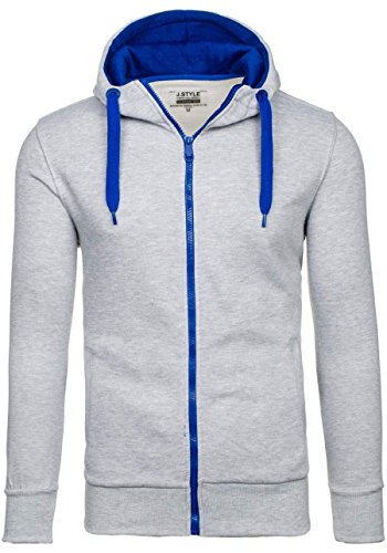 BOLF Sweatshirt mit Kapuze Sweater Herrenpullover J.STYLE 2073 Grau XL [1A1]