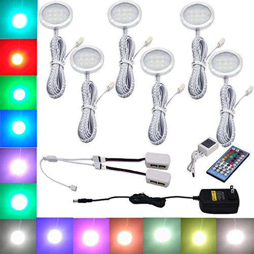 Aiboo RGBW RGB + White Color Changing Christmas Xmas Decor Under Cabinet LED Lighting Kit IR Control Puck Lamps for Kitchen Wardrobe Counter Furniture Ambiance Lighting (RGBW, 6 Lights, (6 Puck Kit)