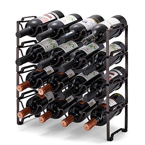 Simple Trending 4-Tier Stackable Wine Rack, Standing Bottles Holder Organizer, Wine Storage Shelf, Towel Rack for Kitchen Pantry Cabinet, Hold 16 Bottles, Bronze