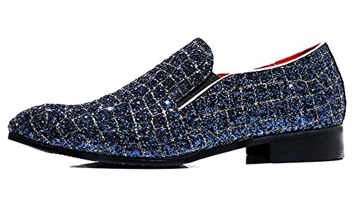 Smoking Mens Dress Metallic Slipper Santimon Blue Shoes Checkered on Fashion Glitter Moccasins Casual Loafer Slip aEqEwx7Ad8