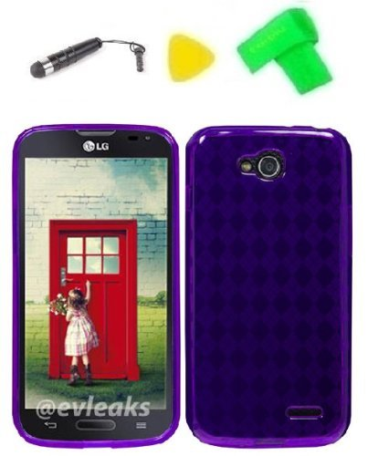 - TPU Gel Skin Phone Case Cover Cell Phone Accessory + Extreme Band + Stylus Pen + Yellow Pry Tool for LG Optimus L90 (TPU Purple)