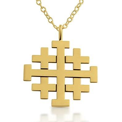 Belcho USA Jerusalem Crusaders Cross Pendant Necklace 14k Gold Plating Over  925 Sterling Silver
