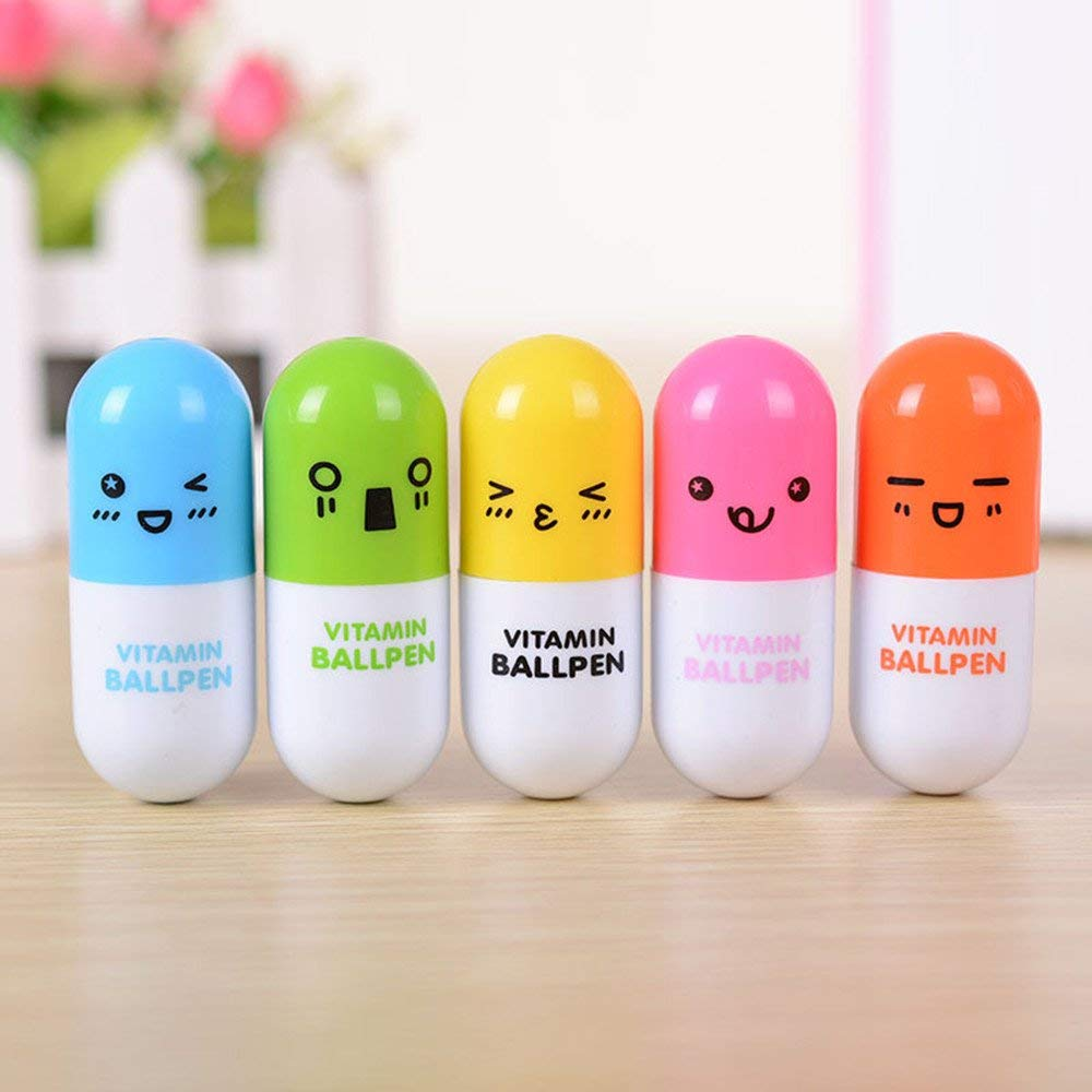 Tcplyn Premium Quality 3Pcs Ball Point Pen Creative Cartoon Expression Capsule Pill Retractable Pen Random Color by Tcplyn (Image #2)