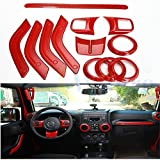 Wiipro 14 PCS Set Interior Decoration Trim Kit Red Steering Wheel Cover with Special Mark for Car decor Jeep Wrangler 2011-15 Cab 4 Door Handle Covers Inner Kit