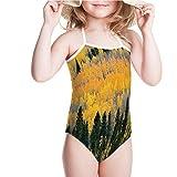 iPrint Swimsuit for Girls Colorado Rocky Mountains Western Wilderness USA Swimwear