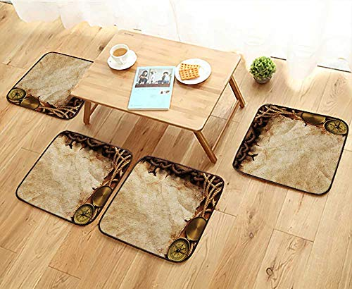 Elastic Cushions Chairs Compass,Rope,Paper,Chain on Wooden Board for Living Rooms W29.5 x L29.5/4PCS Set ()