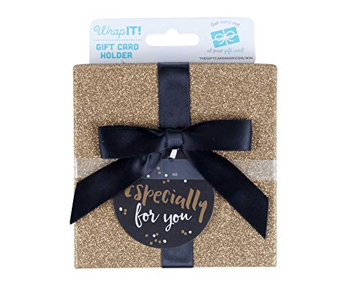 Wrap IT Black and Gold Gift Card Holder Box – Especially for You, 4 x 4 x .5 Inches, 1-Pack