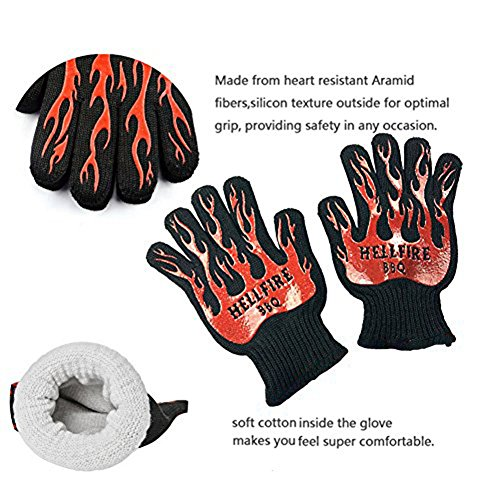Nomex Heat Sleeve (Gouptec 1 Pair 932°F Heat Resistant thick Double surface Silicon knitting Kitchen barbecue oven Cooking glove BBQ Grill Glove Oven Mitt Baking glove (Short))