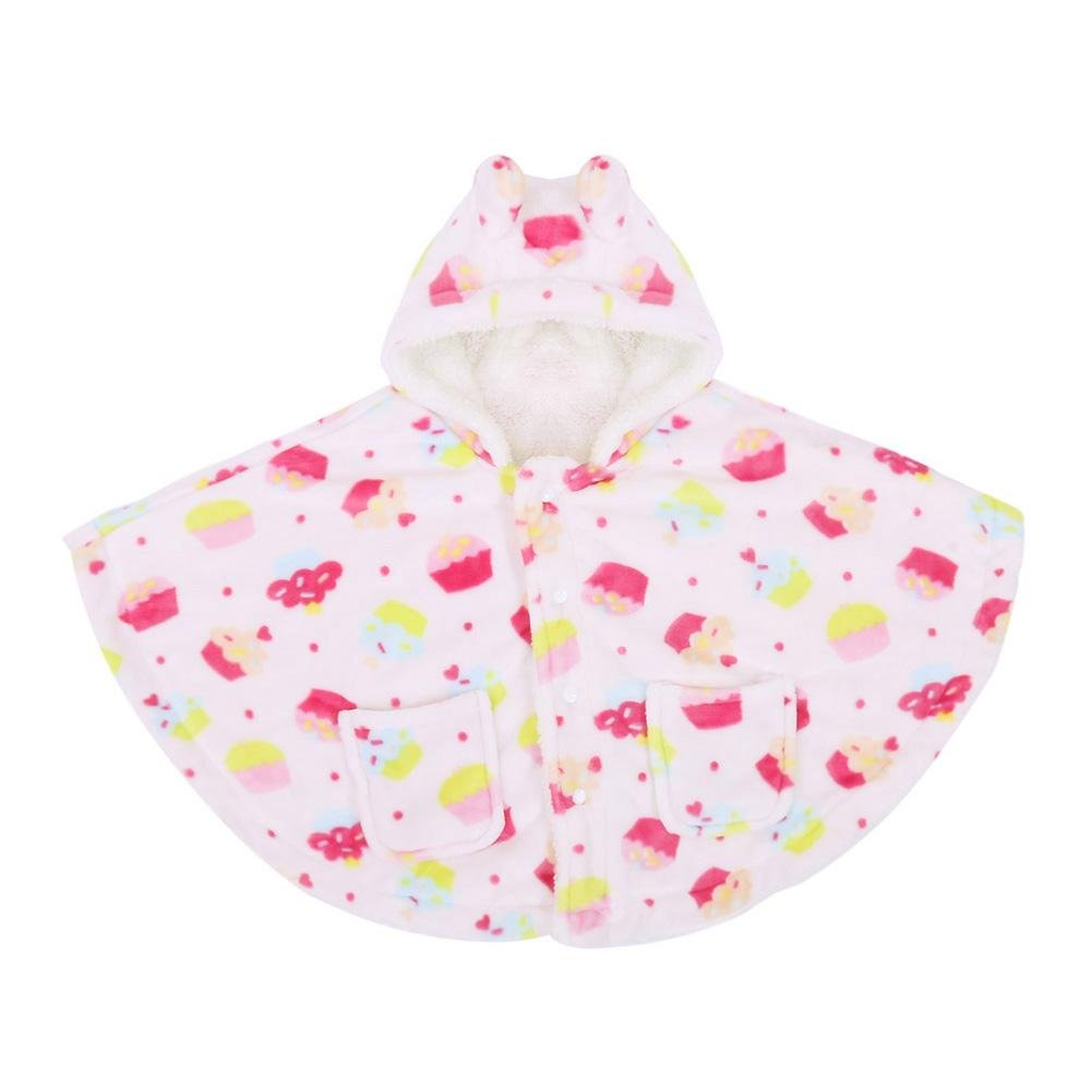 chinatera Baby Girls Boys Cloak Infants Outdoors Clothing Hooded Thickening Cartoon Soft Velvet Batwing Sleeve Outerwear