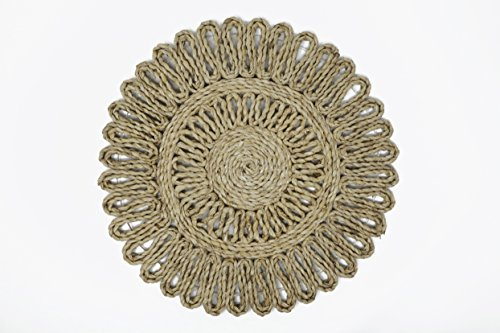 Handmade Eco Friendly Banana Fiber Floral Place Mat Round Diameter-13 Inch Heat Resistant Hot Insulation Party Dinner-Artisan Crafted In - Tamil Women Hot