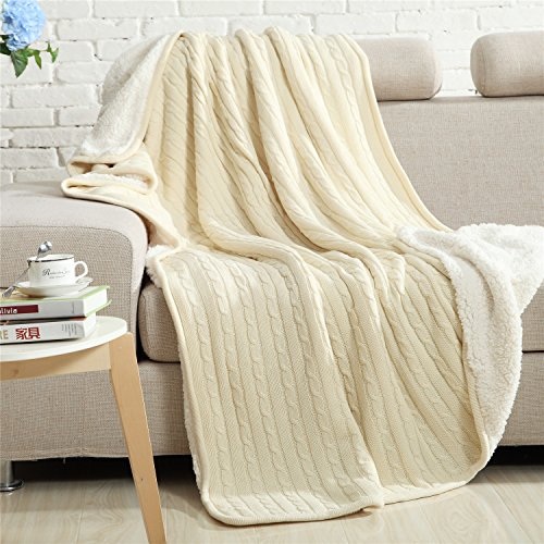 Cotton Sherpa Blanket (Cotton Knitted Blanket Lined with Sherpa Lining Super Soft Warm Cover for Bed Sofa Counch, 59x79 Inches, Creamy-white-Megach)