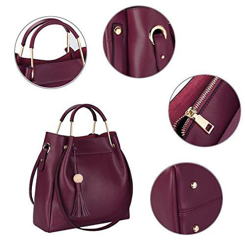 S-ZONE Bolso de hombro con tirantes en una bolsa real con bolsos en bandolera real rojo vino