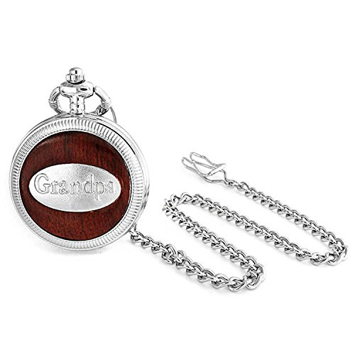 Faux Wood Grain Roman Numeral White Dial Grandpa Pocket Watch Gift for Grandfather Matt Silver Tone Plated with Chain