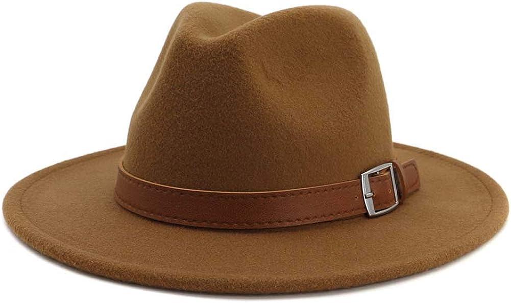 Classic Men /& Women Wide Brim Fedora Panama Hat with Belt Buckle