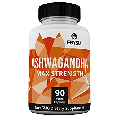 EBYSU Ashwagandha Capsules - 1300mg Max Strength - Supplement Supports Stress Relief & Anti Anxiety Control Root Powder Pills