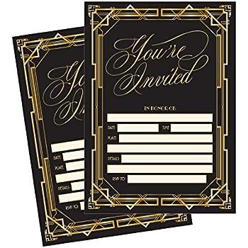 Amazoncom 50 Fill In Invitations Great Gatsby Wedding Invitations