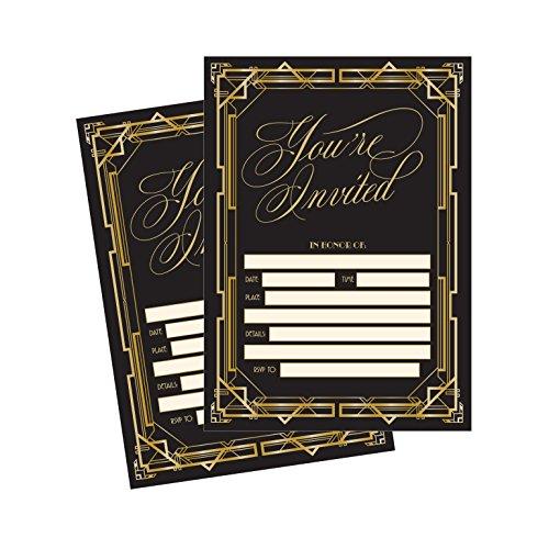 50 Fill In Invitations, Great Gatsby Wedding Invitations, Bridal Shower Invitations, Rehearsal Dinner, Dinner Invite, Baby Shower Invites, Bachelorette Party Invites, Engagement, Sweet 16, (Great Gatsby Birthday)
