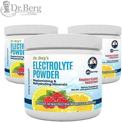 Dr. Berg's Original Electrolyte Powder, High Energy, Replenish & Rejuvenate Your Cells, 45 Servings, NO Maltodextrin or Sugar, Amazing Raspberry Lemon Flavor (3 Pack)