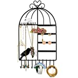 Marrywindix Birdcage pattern Wall Mount Jewelry Organizer Hanging Earring Holder Necklace Jewellry Display Stand Rack (black)