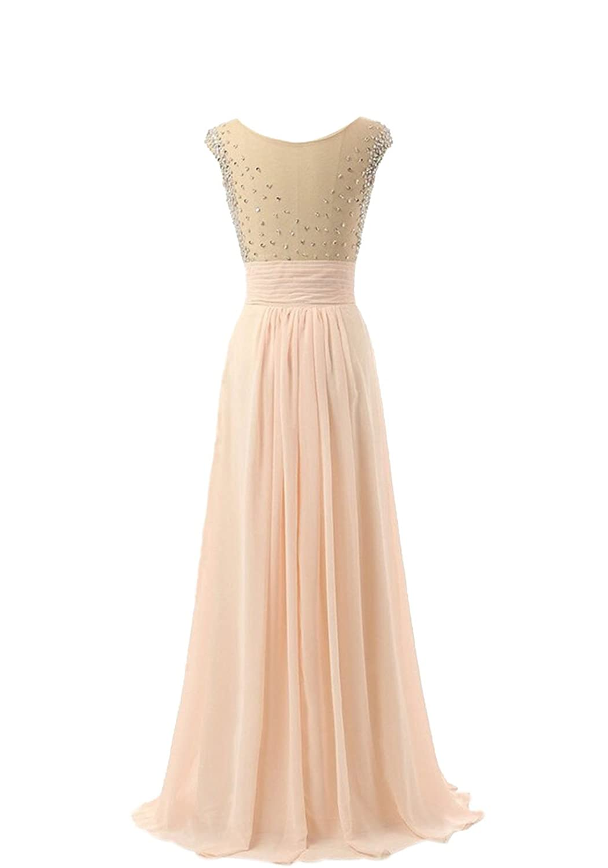 AngelDragon Cap Sleeves Chiffon Beading Gowns Formal Evening Prom Dress
