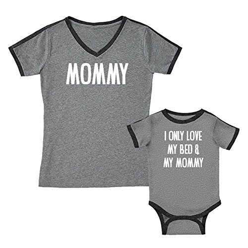 We Match!! - Mommy & I Only Love My Bed & My Mommy - Matching Women's Soccer Ringer T-Shirt & Kids T-Shirt Set (YTH X-Large, Women's XL, Granite, White Print)