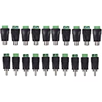 FolioGadgets DC Screw Terminal Block to RCA Female and Male Connector Adapter - 10 Male & 10 Female