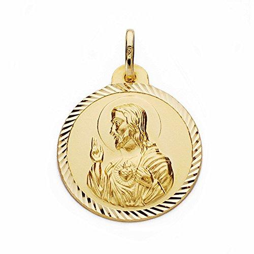 Médaille pendentif 18k 22mm en or Coeur de Jésus. clôture sculpté [AA2505]