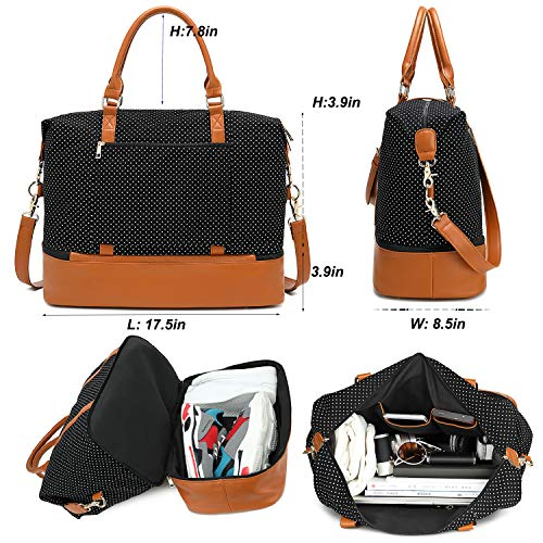 Womens Travel Weekend Bag Canvas Overnight Carry on Shoulder Duffel Beach Tote Bag (Black polka dot with shoe compartment)