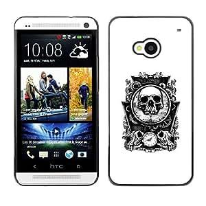 PC/Aluminum Funda Carcasa protectora para HTC One M7 Bones Skull Mirror White Time Death / JUSTGO PHONE PROTECTOR