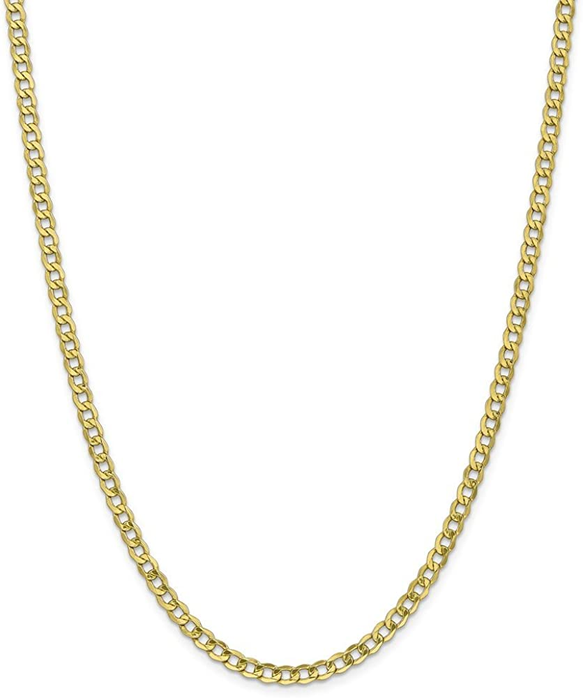 10k Yellow Gold 4.3mm Semi Solid Curb Link Chain Necklace for Men Women