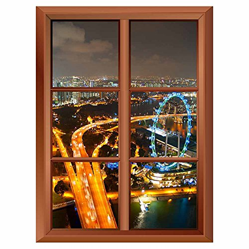 Removable Wall Sticker Wall Mural Aerial View of Singapore with Singapore Flyer in the Right Corner Creative Window View Vinyl Sticker