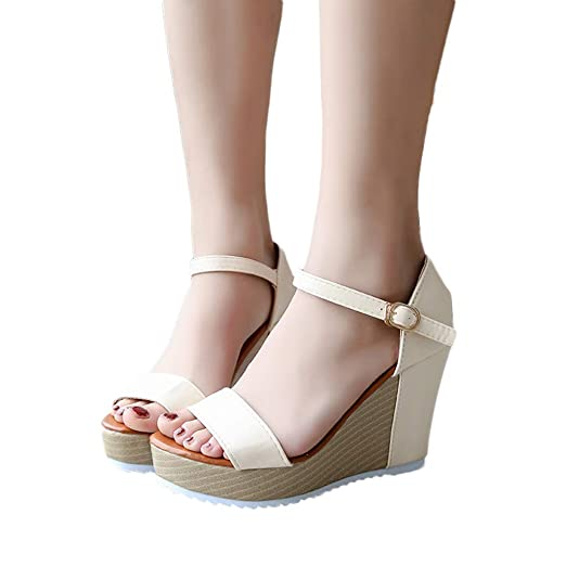 4786cd9d8fc Amazon.com  Gyouanime Women High Heel Wege Platform Sandals Platform Shoes  Peep Toe Wedges Summer Buckle Strap Sandals  Clothing