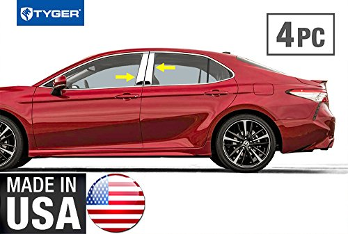 Tyger Auto Made in USA! Works with 2018 Toyota Camry 4PC Stainless Steel Chrome Pillar Post Trim (Toyota Camry Pillar)