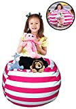 EDCMaker Cover of Bean Bag, Lovely Stuffed Bags, Take Control of stuffed animals, Put Those Critters to Work for You, Premium Cotton Canvas, Kid's Soft 'n Snuggly - Rose Carmine Stripes, 38''