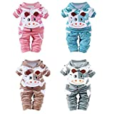 Weant New Born Baby Girl Boy Clothes Cartoon Cow Warm Outfits Clothes Velvet Hooded (0-6 monate, Blue)