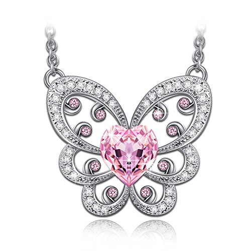 LadyColour Pink Butterfly Necklace Swarovski Crystals Silver Tone Heart