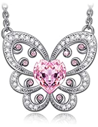 Necklace ♥Graduation Gifts♥ Pink Butterfly Necklace Made with Swarovski Crystals - [Gift Packing]
